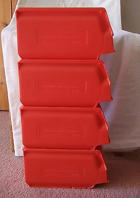 4x PLASTIC STACKABLE STORAGE BOX BIN CONTAINERS 13x24.5x15cm DIY GARAGE RED NEW