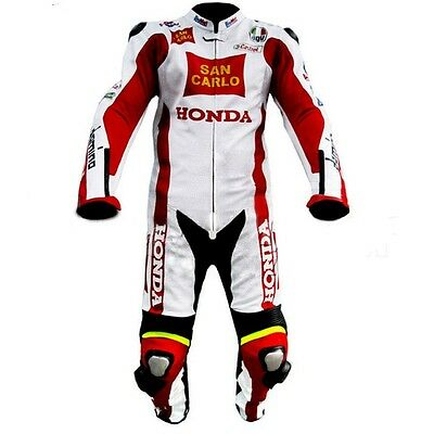 HONDA SAN CARLO Motorcycle Leather Suit MOTOGP Motorbike Leather Jacket Trouser