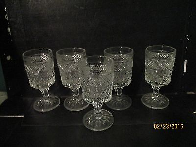 vintage stemmed Thick heavy diamond cut glass glasses goblets set of 5