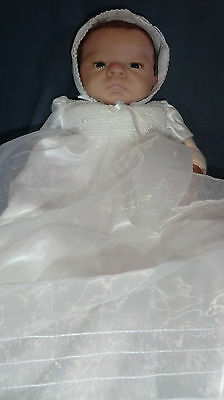 """22"""" Lifelike Weighted Baby Doll - white dress and bonnet"""