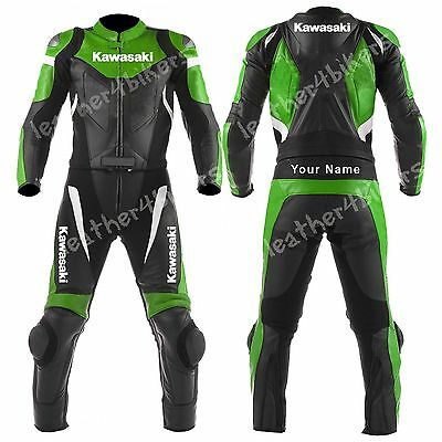 KAWASAKI Biker Motorcycle Leather Suit MOTOGP Motorbike Leather Jacket Trouser