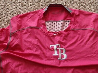 New Tampa Bay Rays Team Issued Pink Mother's Day Dri-Fit Hypercool Shirt 3XL