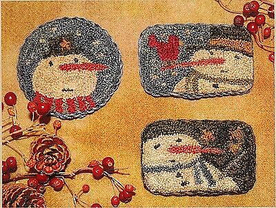 "Punchneedle Pattern--Brenda Gervais (With Thy Needle) ""Winter Fun"" Snowman Pins"
