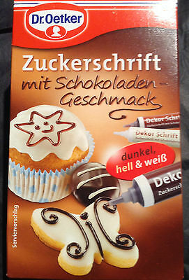 Dr Oetker Writing Icing Decoration White, Dark & Milk Chocolate, 3 x 23g tubes