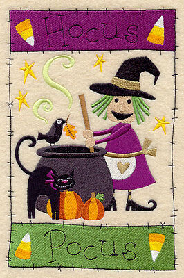 Embroidered hocus pocus medley quilt block, halloween cushion panel,witch