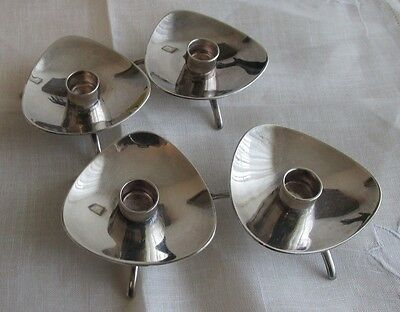 4 COHR Candle holders Silver Plate DENMARK  MID CENTURY DANISH MODERN