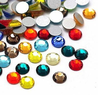 100 Round Glass Rhinestones 3mm ~ Faceted GRADE A ~ Flatbacked / Mixed Colours