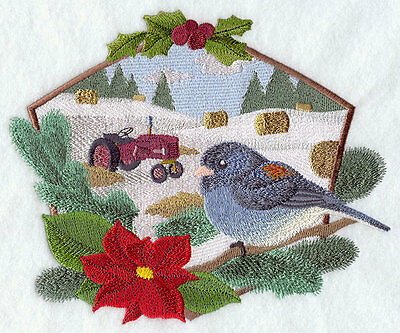 Embroidered country christmas junco quilt block,fabric,cushion panel,snowman