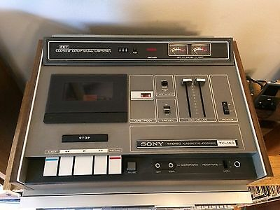 Vintage Sony TC-160 Cassette Tape Deck with Plastic Cover needs belts