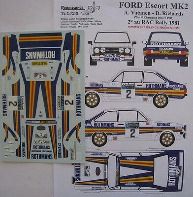 FORD ESCORT 1800 RS n° 2 RAC RALLYE 1981 DECAL 1/24e RENAISSANCE