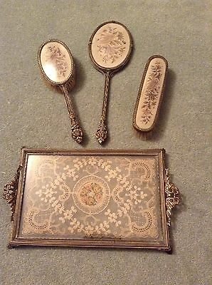 Lovely Victorian Vintage Hair Brush Hand Mirror Clothes Brush Tray Embroidery