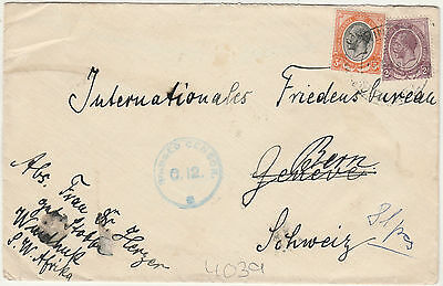 South West Africa Wwi Kgv Censor Cover South Africa Stamps To Switzerland