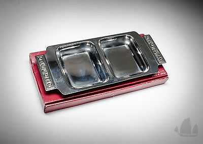 Luckywood Stainless Two Compartment Tray Dish Platter Vintage Retro MCM 1960s
