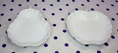 Vintage White Apple Pear Shaped Dishes Butter Pats Sauces Dipping Salt Fruit
