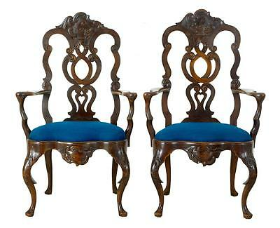 Pair Of 19Th Century Continental Walnut Armchairs