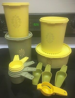 Mixed Vtg Tupperware OLIVE GREEN Yellow Canisters Meas Cups Scoops Separator T3