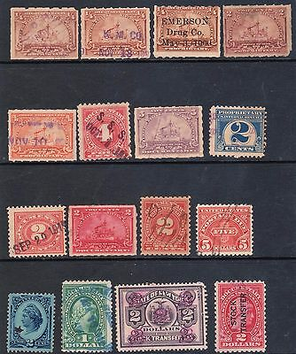 U.S.    Lot of 16 revenue stamps,  used