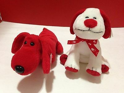 TY BEANIE BABY ROVER Red Hot Dog + TY Beanie Heartbeat Dog Christmas Dogs LOT/2