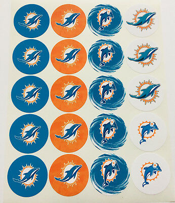 """SET of 20- 2"""" MIAMI DOLPHINS ADHESIVE STICKERS. Make Cupcake Toppers & more"""