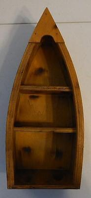 Boat Shaped Wood Shelf Shadow Box For Small Trinket Collectibles Display Shelf