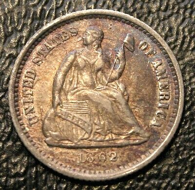 1862 H10C Seated Liberty Half Dime AU Almost Uncirculated