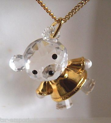 Swarovski Crystal Memories Girl Teddy Bear Pendant and Necklace - Retired