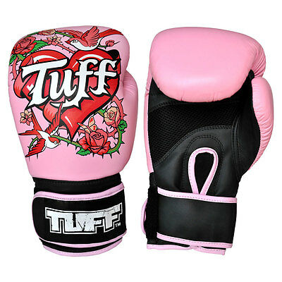 Tuff Muay Thai Genuine Leather Boxing Gloves Rose Pink TUF-GV-ROSE-PNK