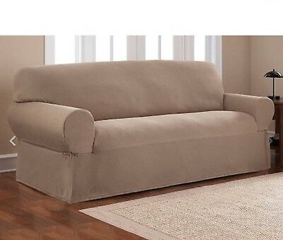 NEW Mainstays 1-Piece Stretch Fabric Sofa Couch Slipcover Brownstone