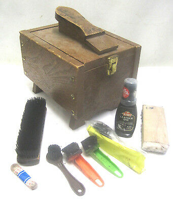 Vintage Shoe Shine Wood Box Shoe Shine Valet Kit Box