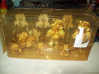 Angel Shower curtains and curtain rod hooks - NEW - Cute, gold and blue decor