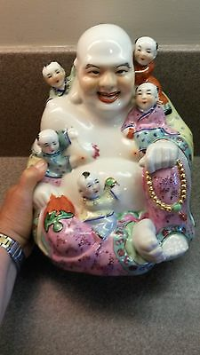 Hand Painted Porcelain Laughing Hotei Buddha 5 Children Happiness Fertility