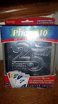 Phase 10 25th Anniversary Collectable Card Game and Tin Holder NIB Rummy Game