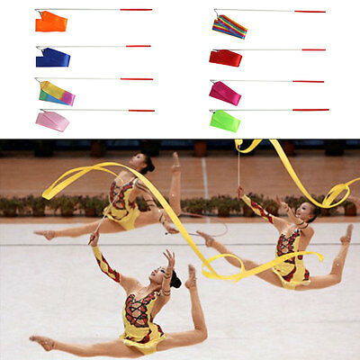 4m Gym Dance Ribbon Rhythmic Gymnastic Streamer Twirling Rod Stick 9 Color