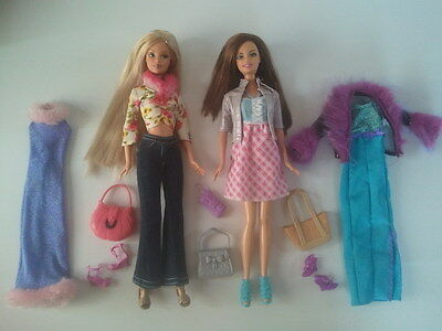 BARBIE DOLL FASHION PACK LOT - 2x Quality Doll + Extra Clothes, Shoes & Bags (A)