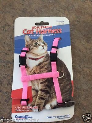 CAT HARNESS PINK ADJUSTABLE ONE SIZE FITS MOST BY COASTAL 100% Helps Cat ResQ