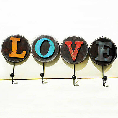 Hot Wall Hanger Shabby Chic Letters Bathroom Towel Single Hook Holder Home Decor