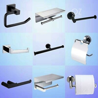 Bathroom Wall Mounted Toilet Paper Roll Holder Tissue Rack Cover Black/Chrome