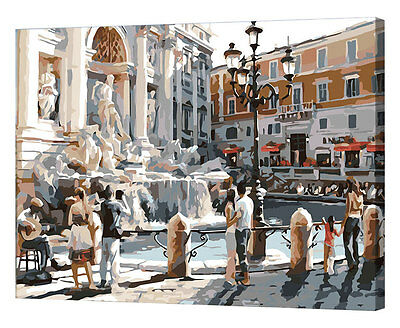 Framed Painting by Number kit Italy Rome Wishing Fountain Trevi Fountain YZ7402