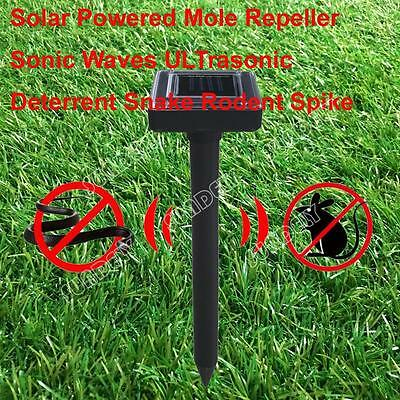 2x Solar Powered Garden Rodent Mole Rat Mice Pest Repeller Repellent Sonic Waves