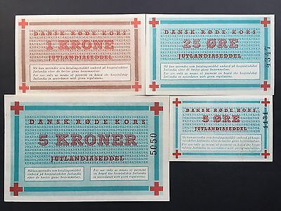 Denmark 5 25 Ore 1 Krone 5 Kroner 4 x Notes Red Cross Ship Jutlandia UNC