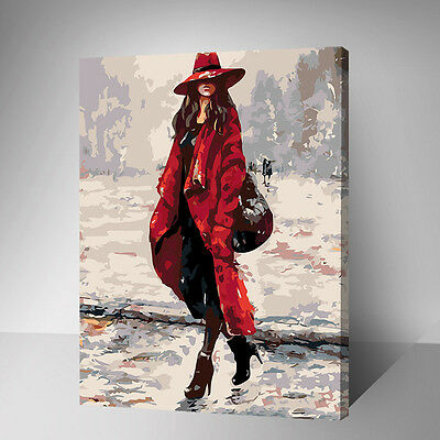 Framed Painting by Number kit Urban Girl Fashion Lady Young Woman Model YZ7442