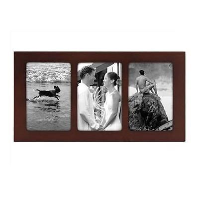 Malden Linear 3-Opening Collage Wood Picture Frame, Walnut, 4-Inch by 6-Inch