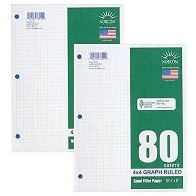 Graph Filler Paper 4x4 Ruled 2 Pack of 80 Sheets Each/FREE EXPEDITED SHIPPING!!!