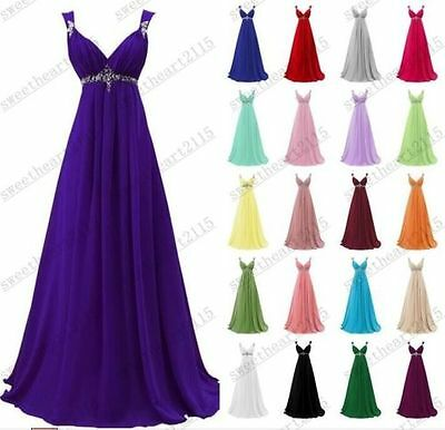 New Formal Long Chiffon Evening Ball Gown Party Prom Bridesmaid Dress Size 6-18+