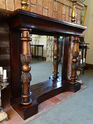 Superb Original William Iv Mirror Back Rosewood Gilt Console Hall Cabinet Table