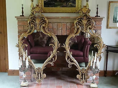 Lovely Matching Pair Of Antique Regency Giltwood Chippendale Wall Hall Mirrors