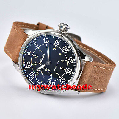 44mm parnis black dial hand winding asia 6497 mechanical mens wristwatch P680