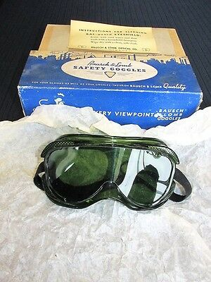 Vintage Bausch & Lomb Safety Goggles Green With Box SteamPunk Retro