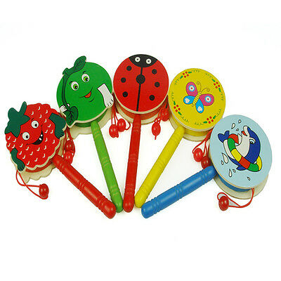 Lovely Cartoon Wooden Hand Bell Shaking Rattle Drum Baby Kid Musical Instrument