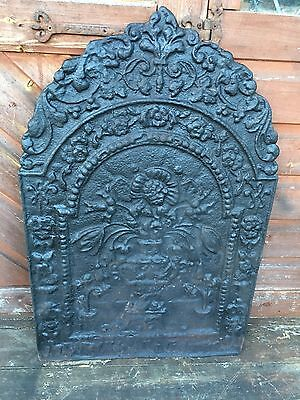 Large Old Cast Iron Backplate Fire Back For Fire Grate Open Fire Inglenook